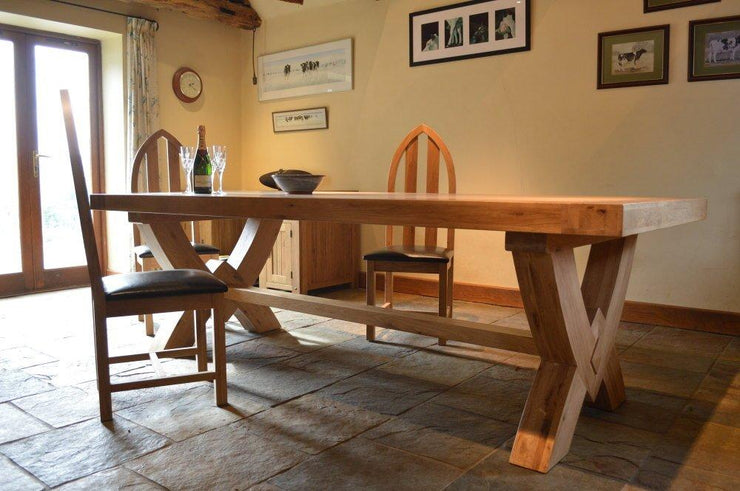 Wessex Oak Grand Ox Bow Fixed Top Dining Table