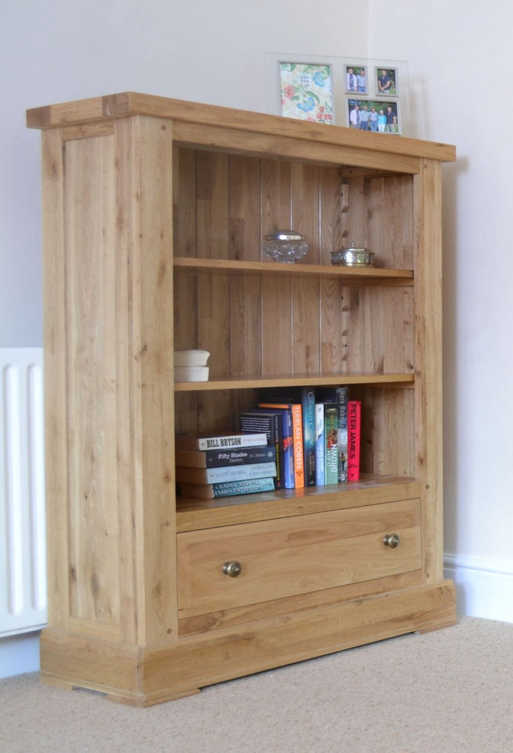 Wessex Oak Low Wide Bookcase