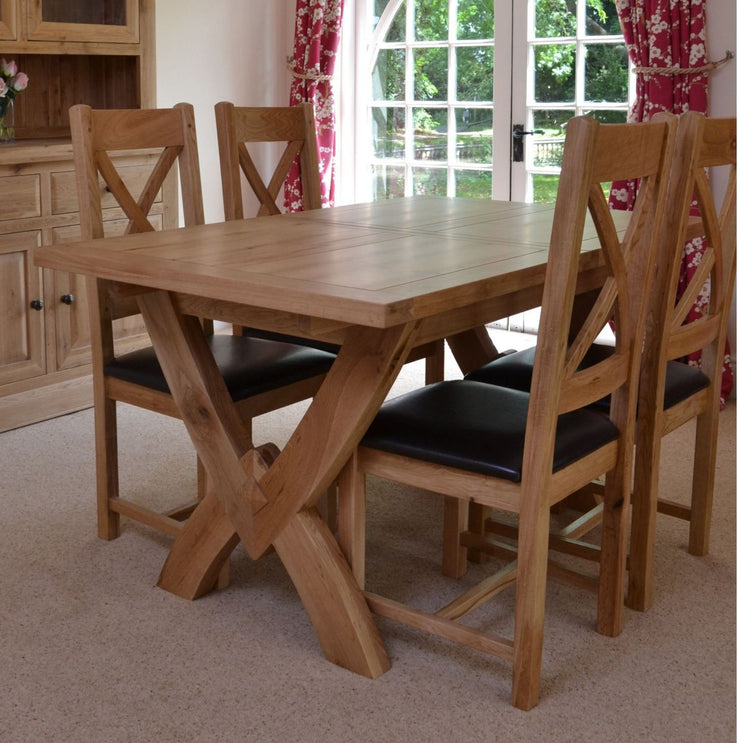 Wessex Oak Petite Ox Bow Extending Dining Table