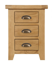 Wexford Oak 3 Drawer Bedside Table