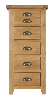 Wexford Oak 5 Drawer Tall Chest of Drawers