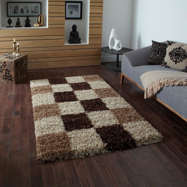 Wilton Shaggy Rug - Check (Various Sizes)