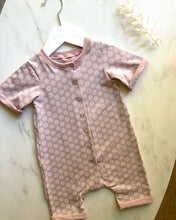 Load image into Gallery viewer, Pink rolled sleeve romper