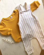 Load image into Gallery viewer, Beige stripe overalls returns August!!