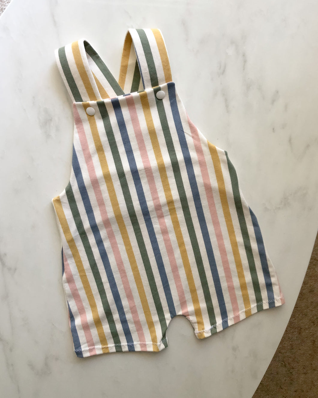 Rainbow stripe short overalls