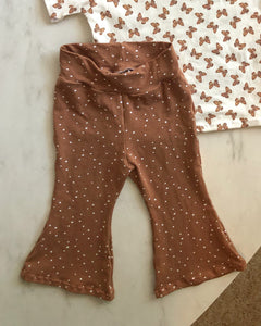 Brown spot flare pants