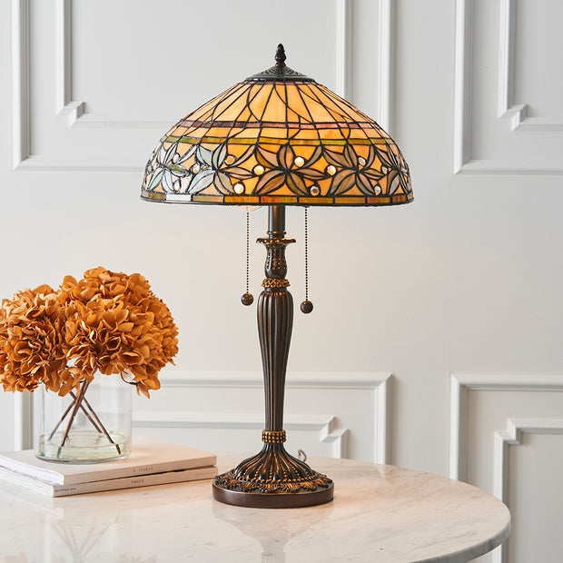 Interiors 1900 Ashtead 1 Light Tiffany Table Lamp - 63916