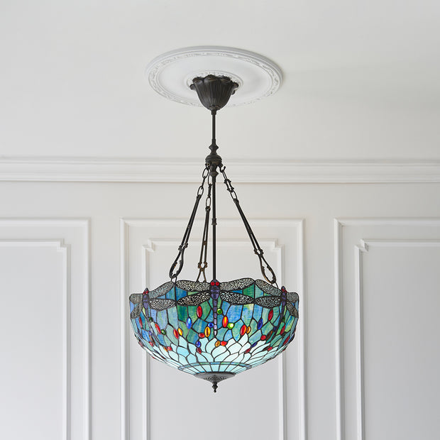 Interiors 1900 Dragonfly Blue 3 Light Tiffany Pendant - 64074