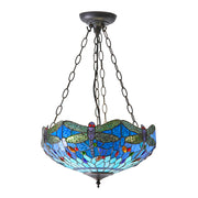 Interiors 1900 Dragonfly Beige 3 Light Tiffany Pendant - 64075