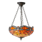 Interiors 1900 Dragonfly Flame 3 Light Tiffany Pendant - 64076
