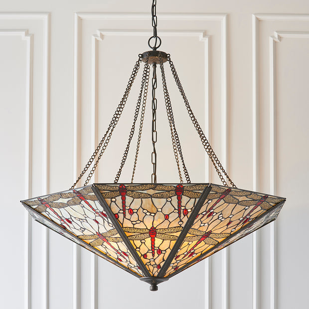 Interiors 1900 Dragonfly Beige 8 Light Tiffany Pendant - 64077