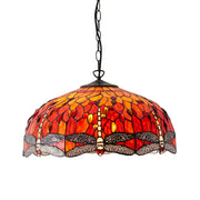 Interiors 1900 Dragonfly Flame 3 Light Tiffany Pendant - 64081