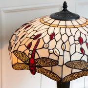 Interiors 1900 Dragonfly Beige 2 Light Tiffany Table Lamp - 64085