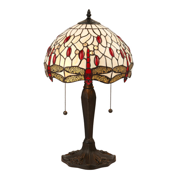 Interiors 1900 Dragonfly Beige 2 Light Tiffany Table Lamp - 64086