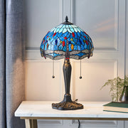 Interiors 1900 Dragonfly Blue 2 Light Tiffany Table Lamp - 64089