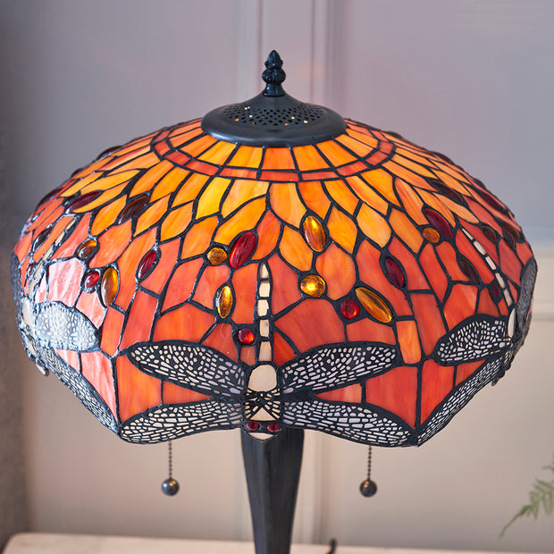 Interiors 1900 Dragonfly Flame 2 Light Tiffany Table Lamp - 64093