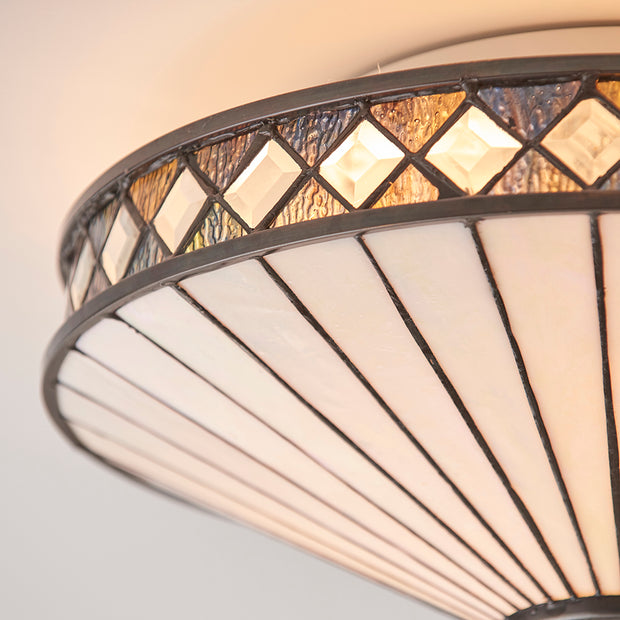 Interiors 1900 Fargo 2 Light Flush Tiffany Lamp - 64145