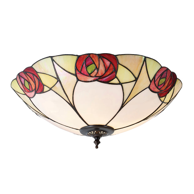 Interiors 1900 Ingram 2 Light Flush Tiffany Ceiling Light - 64182