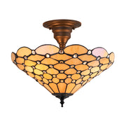 Interiors 1900 Pearl 3 Light Tiffany Semi-Flush Ceiling Light - 64300