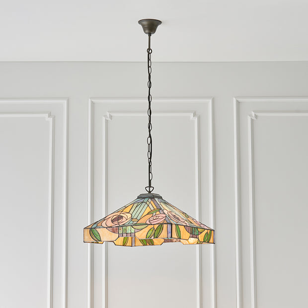 Interiors 1900 Willow 3 Light Tiffany Pendant Light - 64384