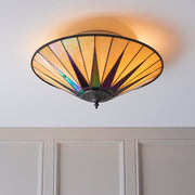 Interiors 1900 Dark Star 2 Light Flush Tiffany Ceiling Light - 70240