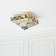 Interiors 1900 Willow 2 Light Flush Tiffany Ceiling Light - 70699