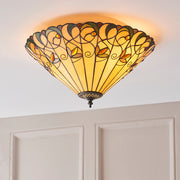 Interiors 1900 Jamelia 2 Light Flush Tiffany Ceiling Light - 70704