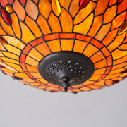 Interiors 1900 Dragonfly Flame 2 Light Flush Tiffany Ceiling Light - 70721