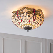 Interiors 1900 Beige Dragonfly 2 Light Flush Tiffany Ceiling Light - 70723
