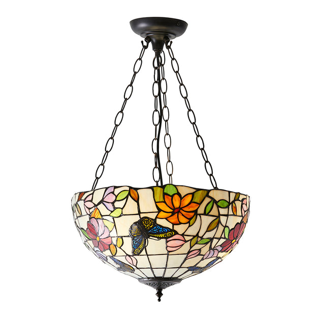 Interiors 1900 Butterfly 3 Light Tiffany Pendant Light - 70745