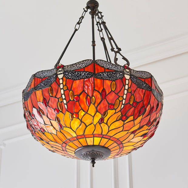 Interiors 1900 Dragonfly Flame 3 Light Tiffany Pendant Light - 70762