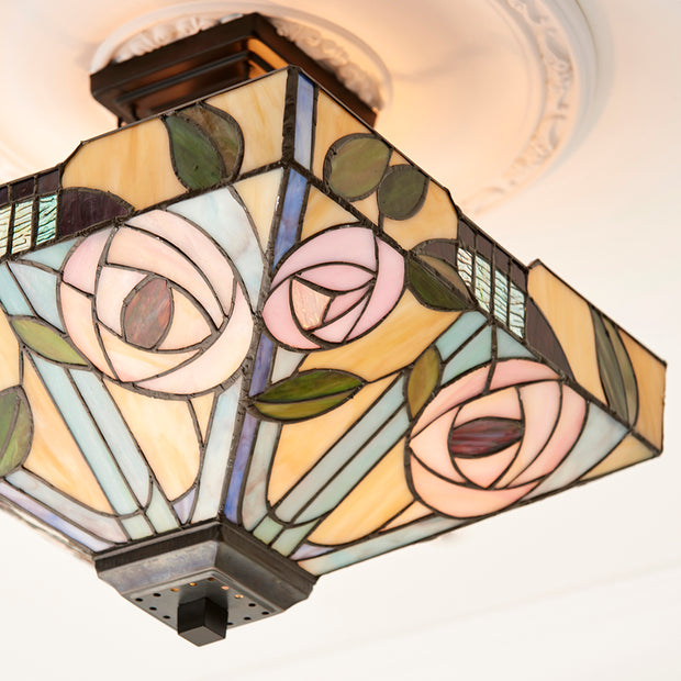 Interiors 1900 Willow 2 Light Semi-Flush Tifany Ceiling Light - 70766