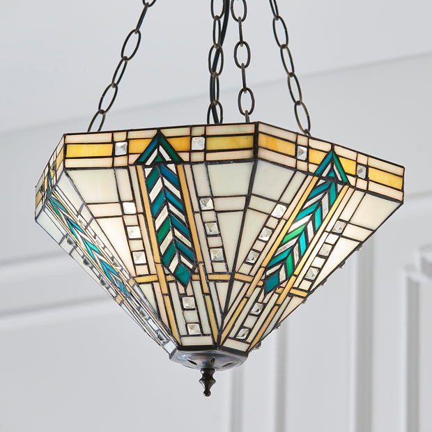 Interiors 1900 Lloyd 3 Light Tiffany Pendant - 70782