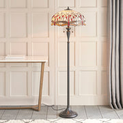 Interiors 1900 Beige Dragonfly 2 Light Tiffany Floor Lamp - 70940