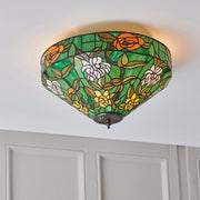Interiors 1900 Agapantha 2 Light Flush Tiffany Ceiling Light - 74439