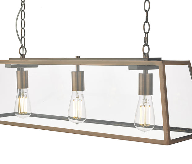 Dar Academy ACA0364 3 Light Bar Pendant In Antique Copper Finish