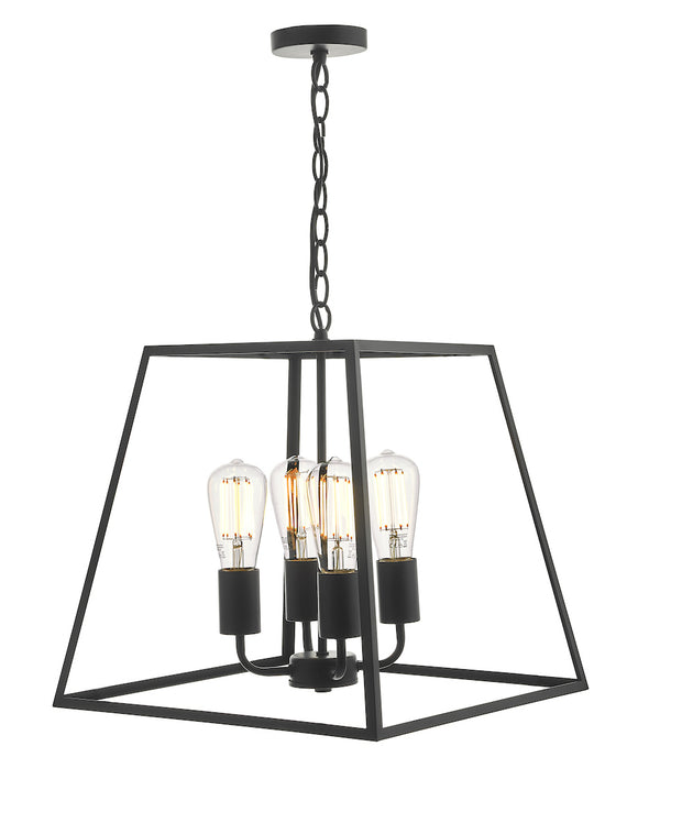 Dar Academy ACA8622 4 Light Lantern In Black Finish