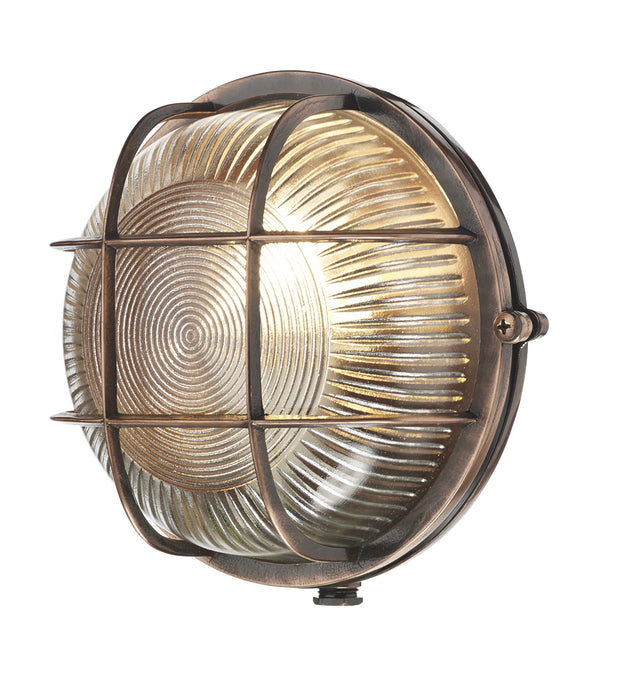 David Hunt Admiral ADM5064 Round Antique Copper Exterior Wall Light - IP64