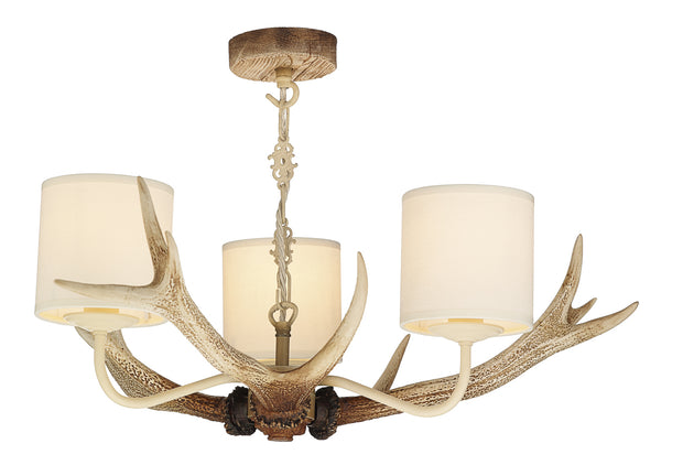 David Hunt Antler ANT0315 Bleached 3 Light Chandelier Complete With Shades
