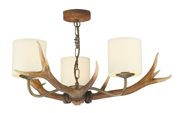 David Hunt Antler ANT0329 3 Light Chandelier Complete With Shades