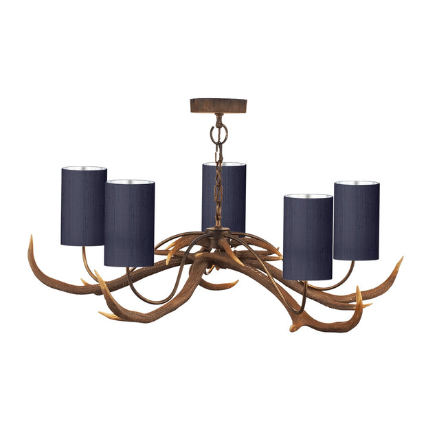 David Hunt Antler ANT0500 Rustic 5 Light Chandelier Complete With Bespoke Silk Shades - (Specify Shade Colour)