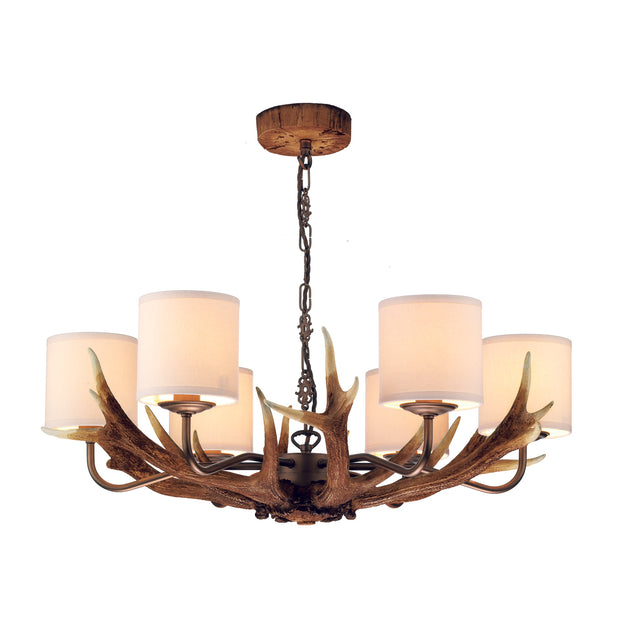 David Hunt Antler ANT0699 Rustic 6 Light Chandelier Complete With Bespoke Silk Shades