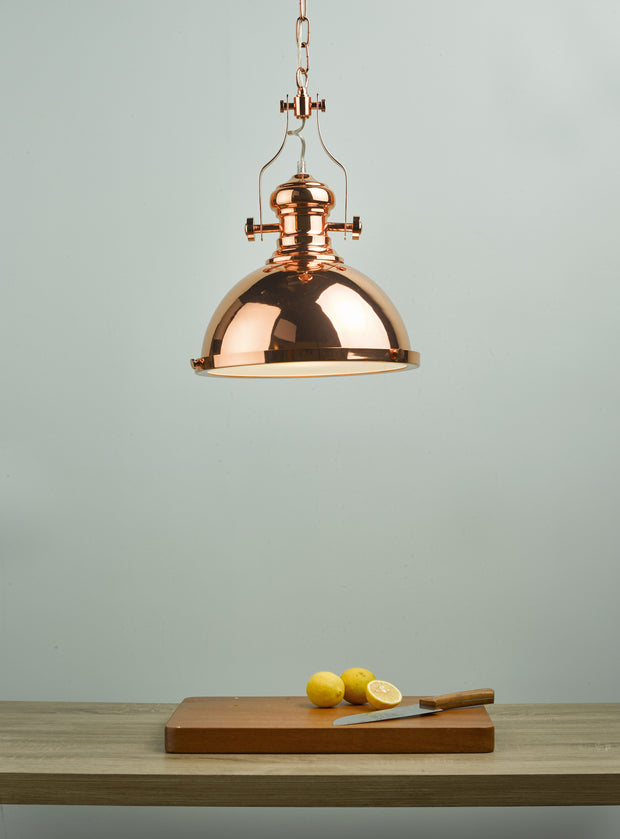 Dar Arona ARO0164 Single Pendant In Copper With Glass Diffuser