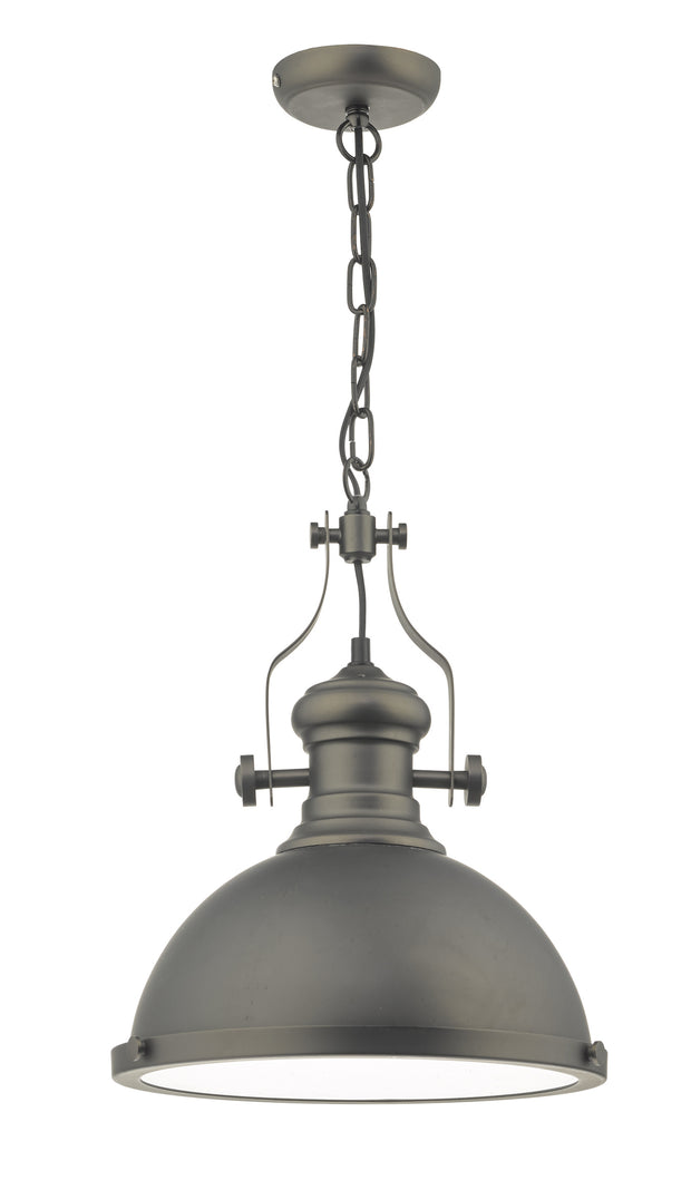 Dar Arona ARO0167 Single Pendant In Antique Pewter With Glass Diffuser