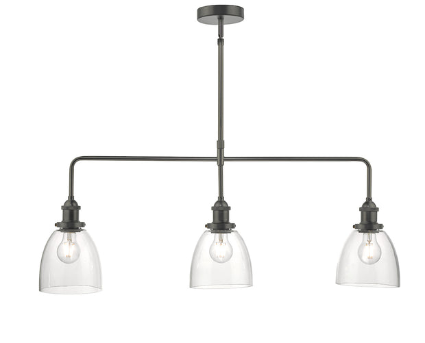 Dar Arvin ARV0361 3 Light Bar Pendant In Antique Chrome With Glass Shades