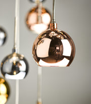 Dar Aurelia AUR3364 30 Light Cluster Pendant In Polished Black Chrome Finish With Copper & Bronze Glass Shades