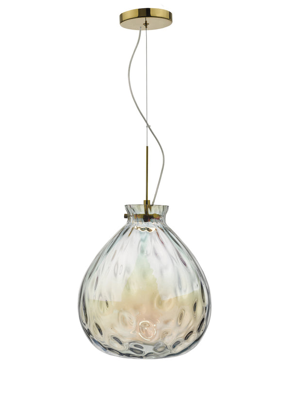 Dar Azia AZI0135 11W LED Single Pendant In French Gold Finish With Iridised Glass