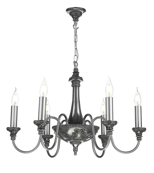 David Hunt Bailey BAI0667 Pewter 6 Light Chandelier