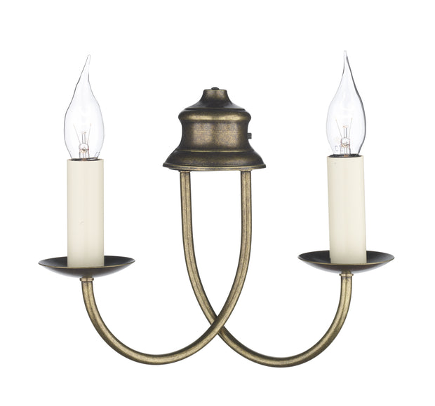 David Hunt Bermuda BE28 Aged Brass Double Wall Light - (Shades Sold Separately)
