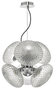 Dar Bibiana BIB0650 6 Light Pendant In Polished Chrome Finish With Clear Textured Glass